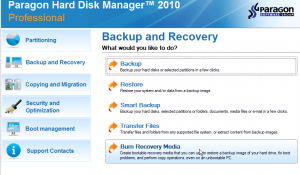 Hard disk manager menu burn Recovery Media