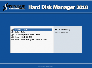 boot menu Päragon Hard Disk manager 2010