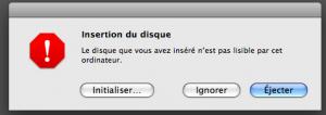 Message erreur Mac OS X Initialiser disque