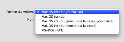 Menu déroulant format de volume Mac OS X