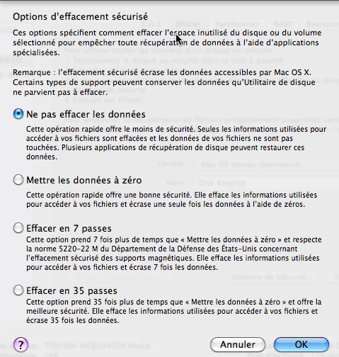Bouton Options d'effacement Mac OS X