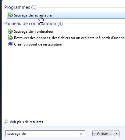 Programme Sauvegarder et restaurer Windows 7