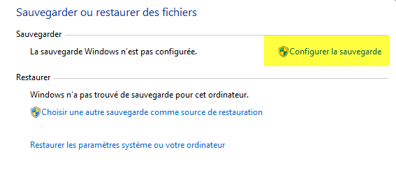 Option Configurer la sauvegarde sous windows 7