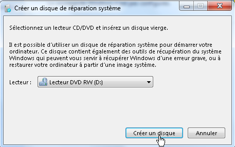 Créer disque réparation système Windows