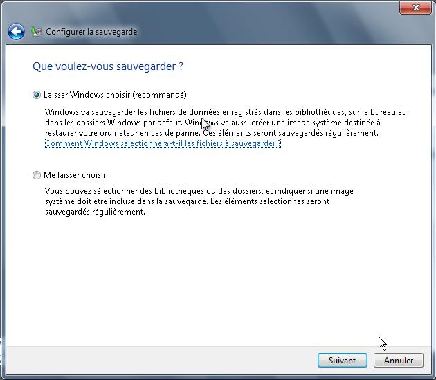 Laisser windows choisir ou choisir les fichiers à sauvegarder