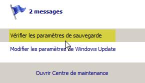 message centre de maintenance vérifiez les paramètres de sauvegarde