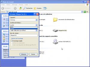 Pdetravail Formatage du disque dur SP2