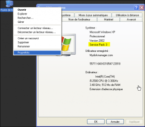 Propriété ordinateur SP2-SP3