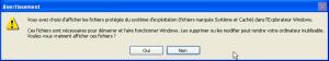 message alerte fichiers systèmes afficher