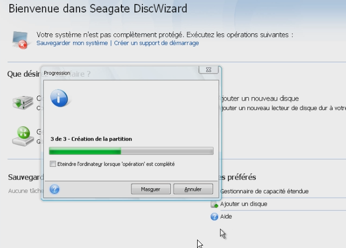 Creation partitions en cours discwizard